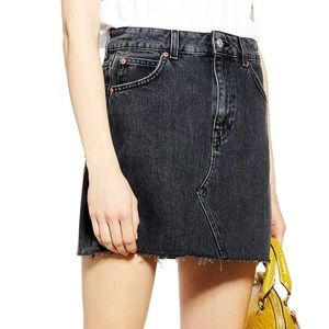 Topshop Moto High Waist Black Denim Skirt